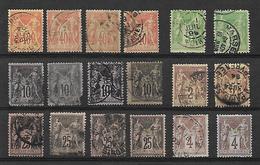 Timbre De FRANCE . SAGE. DIVERS. LOT DE 18 TIMBRES. POUR ETUDE. OBLI. COULEUR. - 1876-1898 Sage (Type II)