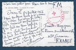 Cachet Croix Rouge Française D' ORAN  Sur Carte En Franchise Militaire - Marcophilie (Lettres)