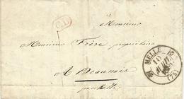 1840- Lettre De MELLE ( Deux Sèvres ) Cad T12  + C L Enc. Taxe 1 Decime  ( Courrier Local ) - Marcophilie (Lettres)