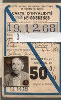 Puyricard (13 Bouches Du Rhône)  Carte D'invalidité  1968  (PPP17743) - Vieux Papiers
