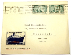 FRANCE 303 (o) Voyage Inaugural Paquebot NORMANDIE Détenteur Ruban Bleu Cinderella 29 Mai 1935 - France