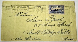 FRANCE 399 (o) Voyage Inaugural Paquebot NORMANDIE Détenteur Ruban Bleu 29 Mai 1935 Vers USA Massachussets - France