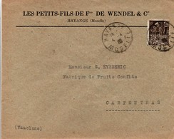 Wendel Hayange 1932 - Perforé HW Sur Femme Fachi - Lettre à En-tête - W Incomplet - Frankreich