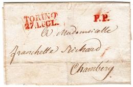 Lettre Turin Torino Pour Chambérie Savoie États De Savoie Regno Di Sardegna Savoia - ...-1850 Voorfilatelie