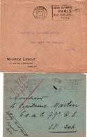 Jeux Olympiques De Paris 1924 - 2 Lettres Avec Flammes Paris Départ Et Paris XIV - Olympics - Postmark Collection (Covers)