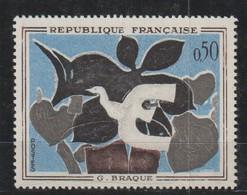 YT 1319 ** 50c Braque, Décalage Des Couleurs, Bords Blancs + Un Normal - Variétés: 1960-69 Neufs