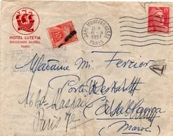 Paris Gare Montparnasse 1951 Sur Gandon - Taxe Poste Restante Gerbe 10 F Avec Griffe - Hotel Lutetia - ! Déchirure - Marcophilie (Lettres)
