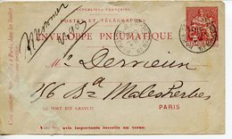 868. ENVELOPPE PNEUMATIQUE CACHET PARIS MALESHERBES 1900 - Enteros Postales