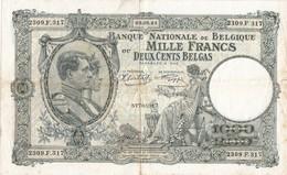 1000 FRANCS - 200 BELGAS (02.08.43)  -  TRES BON ETAT - [ 2] 1831-... : Koninkrijk België
