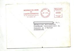 Lettre Flamme Ema  Paris Assemblee Union Europe Occidentale - Marcophilie (Lettres)