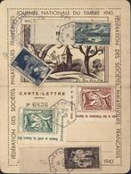 Journée Du Timbre Rochefort S Mer 2 Vignettes Locales Brun Et Vert BDF YT 585 582 583 CAD Hexagonal Rochefort A 10 10 43 - 1921-1960: Moderne