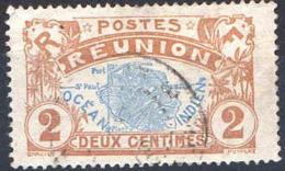 Réunion Poste Obl (Yv: 57 Mi  57) Yv:0,3 Euro Carte De L'île (cachet Rond) - Réunion (1852-1975)