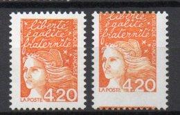 - FRANCE Variété N° 3094 - 4 F. 20 Orange Foncé Marianne De Luquet 1997 - PIQUAGE A CHEVAL - - Variétés Et Curiosités