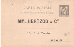 Carte Postale Entier 10c.Sage Repiquage Privé Par HERTZOG & Cie à PARIS - Marcophilie (Lettres)