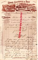 63 - ROYAT LES BAINS- RARE FACTURE ROUZAUD BOUCHET-GRANDE CHOCOLATERIE -CHOCOLAT -1898  PUY DE DOME - 1800 – 1899