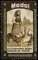 Reklamemarke: Medol Gegen Kalkbeine Der Hühner - Vignetten (Erinnophilie)