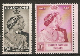 BRITISH SOLOMON ISLANDS 1949 SILVER WEDDING SET UNMOUNTED MINT Cat £10.50 - British Solomon Islands (...-1978)