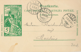 Ganzsache Nyon Bursin Gilly 1900 - Entiers Postaux