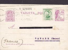 Spain Uprated Postal Stationery Ganzsache Entier Sinnbild Der Republik TMS Cds. BARCELONA 1934 TARARE France - Ganzsachen