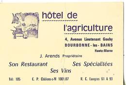 Carte Commerciale / 52 BOURBONNE LES BAINS / Hôtel De L'Agriculture - Bourbonne Les Bains