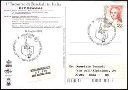 ITALIA LIVORNO 2001 - RIEVOCAZIONE STORICA 1^ PARTITA BASEBALL IN ITALIA ED EUROPA - CARTOLINA UFFICIALE VIAGGIATA - Baseball
