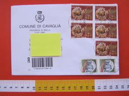 IT.05 ITALIA STORIA POSTALE - 2001 COMUNE DI CAVAGLIA BIELLA RACCOMANDATA FR. 5 X TARANTO MUSEO ARCHEOLOGICO - 6. 1946-.. Repubblica