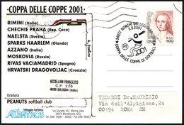 ITALIA RONCHI DEI LEGIONARI 2001 - COPPA DELLE COPPE DI SOFTBALL - CARTOLINA UFFICIALE VIAGGIATA - Baseball