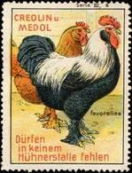 Reklamemarke: Creolin Und Medol Favorelles Für Hühner - Vignetten (Erinnophilie)
