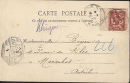 YT 124 Mouchon Rose Retouché Variété Piquage Bord Feuille CAD Paris Rue Bac 26 8 02 Arrivée Marienbad Autriche 27 8 02 - Varietà: 1900-20 Storia Postale