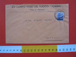 IT.05 ITALIA STORIA POSTALE - 1947 TORINO BUSTA 83° CORPO VIGILI DEL FUOCO FIRE POMPIERI X BIBIANA (TO) + CACHET COMANDO - Pompieri