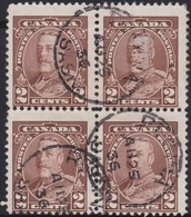 Canada  .  Scott     .      218  Block Of 4      .      O    .  Cancelled  .   /    .  Gebruikt - 1911-1935 Regering Van George V