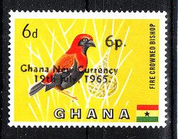 Ghana - 1965. Uccello Di Fuoco. Fire Bird. With Overprint. Rare MNH - Moineaux