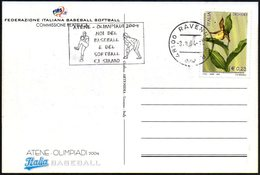 ITALIA RAVENNA 2004 - OLIMPIADI ATENE 2004: NOI DEL BASEBALL E DEL SOFTBALL CI SIAMO - CARTOLINA UFFICIALE - Baseball