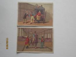 """LE/AJ - 2 Chromos """" Au Bon Marché """" Boucicaut  à Paris : Ecuries Et Voitures Du Bon Marché  . 1890-1900 - Cromos"""