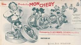 """Facture Illustrée 1938 / Fromages """"Mon Chery"""" / Publicité / Fromagerie RENTZ / 68 Ostheim - France"""