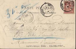 YT Mouchon Retouché 10c Rose CAD Caen 31 8 02 Cachet Arrivée Infanterie 02 Manoeuvres CPA Caen Rue St Pierre - Marcophilie (Lettres)