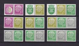 BRD  - 1956 - Zusammendrucke - Michel Nr. W 8/W 16  - Postfrisch - 70 Euro - BRD