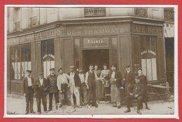 COMMERCE --  CARTE PHOTO - RARE -Café - Restaurant  - Au Rendez Vous - P. JAMES - Cafés