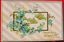 Cpa ART DECO Gaufrée POISSONS D AVRIL Dans Cadre FLEURS MYOSOTIS, 1908 , FISH & FLOWERS FORGET ME NOT Embossed - 1er Avril - Poisson D'avril