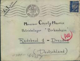 """1944, Post Aus Frankreich In Das Zwangsarbeiterlager """"Birkenhain"""", Radebeul, Zensur """"Ae"""" - Alemania"""