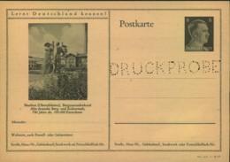 """6 Pfg. Hitler Bildganzsche Gelocht """"DRUCKPROBE"""" , Beuthen Bergmannsdenkmal (P305) - Allemagne"""
