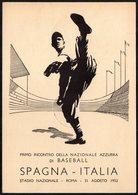 ITALIA 1952 - PRIMO INCONTRO DELLA NAZIONALE AZZURRA DI BASEBALL - ROMA: ITALIA Vs. SPAGNA - CARTOLINA UFFICIALE - Baseball