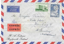 Island Luftpost Expres Brief N. Hamburg , Mif. Mi.341,358 Reykjavik 1962 - Poste Aérienne