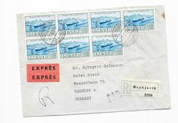 Island Luftpost Expres Brief N. Hamburg , Mef. Mi.352 , Reykjavik 1962 - Luftpost