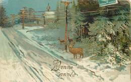 BONNE  ANNÉE - Paysage De Neige, Cerf Et Biches (carte Gaufrée). - Nouvel An