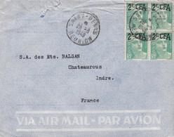 LETTRE REUNION. 1949. GANDO 2 CFA BLOC DE 4  /  2 - Reunion Island (1852-1975)
