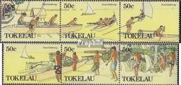 Tokelau 165-170 Dreierstreifen (kompl.Ausg.) Jahrgang 1989 Komplett Postfrisch 1989 Nahrungsmittelbeschaffung - Tokelau