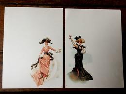 """Menu Ancien Illustré - 2 Menus Art Nouveau - Illustrateur - """" Femmes Et Verre De Champagne & De Vin Rouge """" - Menus"""