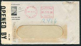 1941 USA Prudential Gibraltar Newark NJ Franking Machine / Meter Mark, Double Censor Cover. Germany - United States