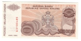 Croatia Knin 50000000000 Dinara 1993 UNC .C3. - Croazia